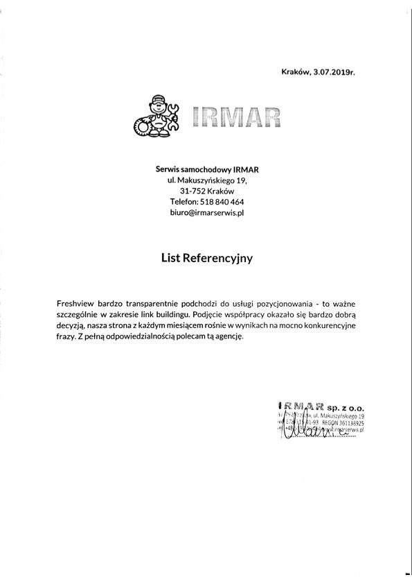 Referencje Freshview Irmar Pozycjonowanie Stron Kraków