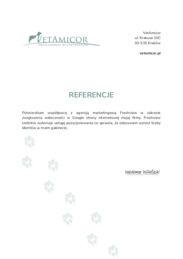 Referencje Freshview Vetamicor